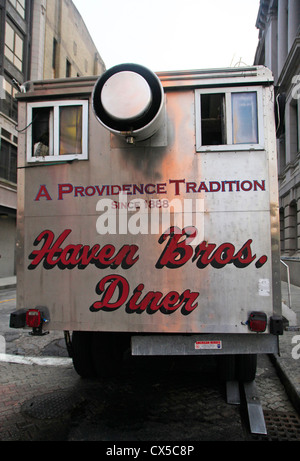 Haven Brothers Diner in Providence Rhode Island - Stock Photo