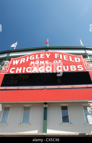 Chicago Cubs team,  Wrigley Field baseball stadium sign, Chicago, Illinois - Stock Photo