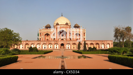 Panoramic view of Humayun's Tomb - one of the most famous Mughal buldings in New Delhi, India - Stock Photo