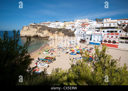 ALGARVE, PORTUGAL. A view of the beach and town at Praia do Carvoeiro. 2012. - Stock Photo