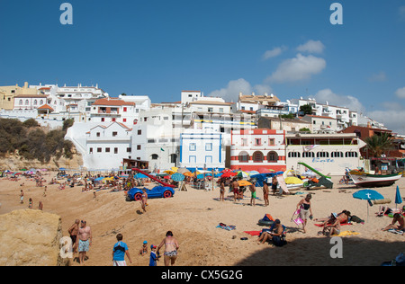ALGARVE, PORTUGAL. A view of the beach and town at the resort of Praia do Carvoeiro. 2012. - Stock Photo