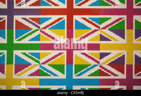 M&Ms laid out in Union Jack design at M&M World in Leicester Square - London UK - Stock Photo