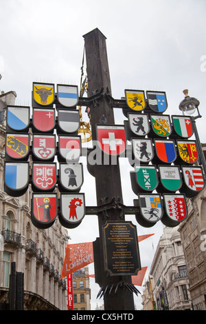 Swiss Cantonal Tree in Leicester Square - London - UK - Stock Photo