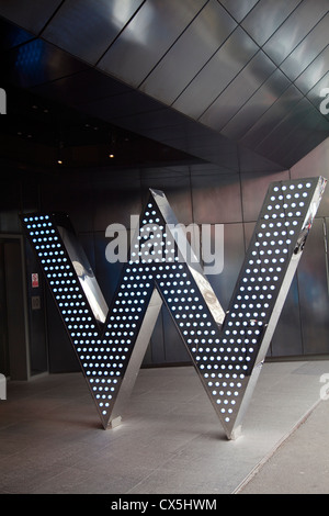 W logo at entrance to W Hotel in Leicester Square on Wardour Street - London UK - Stock Photo