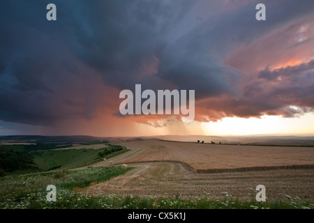Summer storm on the South Downs, West Sussex, England. - Stock Photo