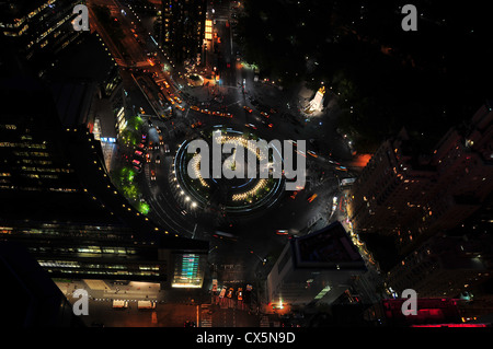 View of Columbus Circle from Above at night with views of Central Park and the Monument to the Maine. - Stock Photo