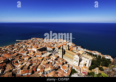 Cefalu from La Rocca. Cefalu is located on the northern coast of Sicily, Italy - Stock Photo