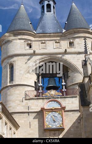 Clock and bell of the Porte de la Grosse Cloche in Bordeaux, France - Stock Photo