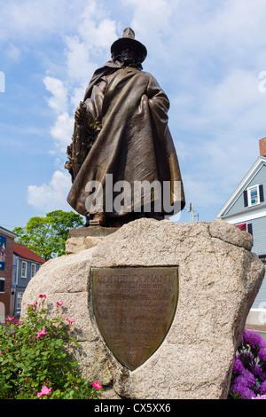 Statue of Roger Conant, the first settler in Salem, Salem Common, Salem, Massachusetts, USA - Stock Photo