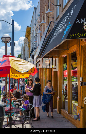 Sidewalk cafe on South State Street in downtown Ann Arbor, Michigan, USA - Stock Photo