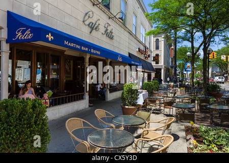 Sidewalk restaurant on Main Street in downtown Ann Arbor, Michigan, USA - Stock Photo