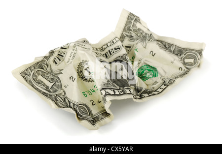 Crumpled one US dollar bill isolated on white - Stock Photo