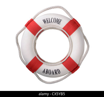 White life buoy with 'Welcome aboard' inscription isolated on white - Stock Photo