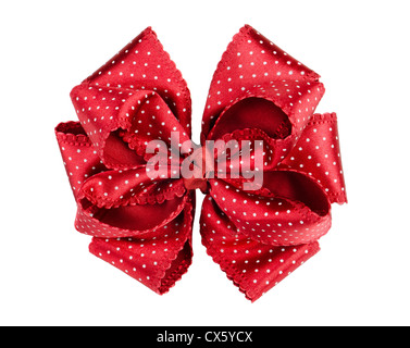 Red dotted silk gift bow isolated on white - Stock Photo