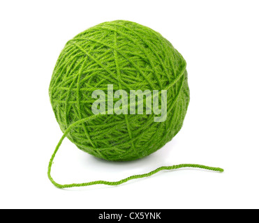Green wool yarn ball isolated on white - Stock Photo