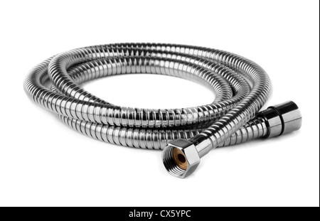 Steel water shower flexible hose isolated on white - Stock Photo