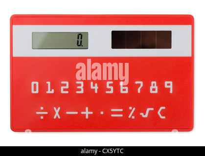 Red pocket calculator isolated on white
