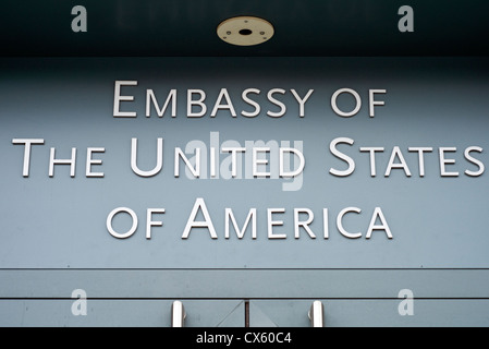 Sign outside the US Embassy in Berlin, Germany - Stock Photo