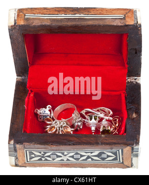 open small red treasure box isolated on white background - Stock Photo