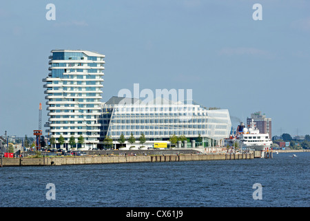 Marco Polo Tower and Unilever House, harbour, Hamburg, Germany - Stock Photo