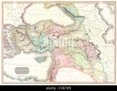 1818 Pinkerton Map of Turkey in Asia, Iraq, Syria, and Palestine - Stock Photo