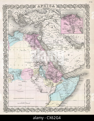 1855 Colton Map of Northeastern Africa - Stock Photo