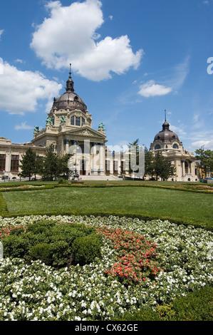 Elk190-1647v Hungary, Budapest, Pest, Szechenyi Baths in City Park with flower beds - Stock Photo