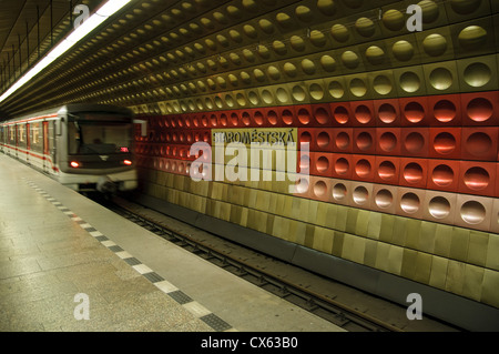 A train departs the platform at Staromestska Metro Station - Stock Photo