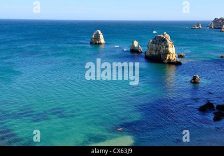 Seascape of Ponta da Piedade in Algarve, Portugal - Stock Photo