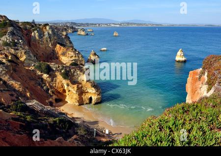 High view of Camilo Beach in Lagos, Algarve, Portugal - Stock Photo