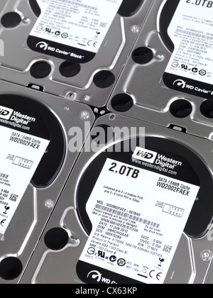 Computer hard drives, several Western Digital HDDs - Stock Photo