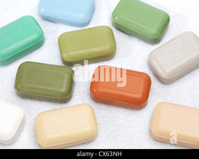 Different color soap bars with healthy natural ingredients - Stock Photo