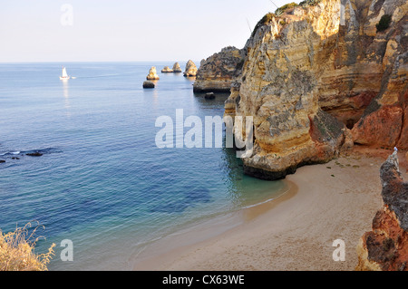 High view of D.Ana Beach in Lagos, Algarve, Portugal close to the sunset - Stock Photo