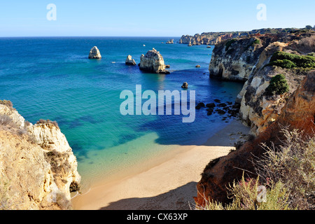 High view of Pinhao Beach in Lagos, Algarve, Portugal - Stock Photo