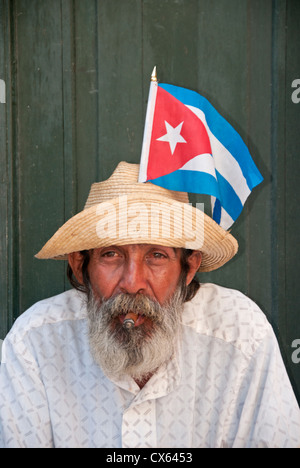 Portrait of a Local Cuban Man, Calle Mercaderes, Habana Vieja, Havana, Cuba, Caribbean - Stock Photo