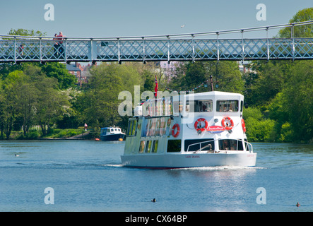 Tourboat Lady Diana Passing Beneath Queens Park Bridge on the River Dee, The Groves, Chester, Cheshire, England, - Stock Photo