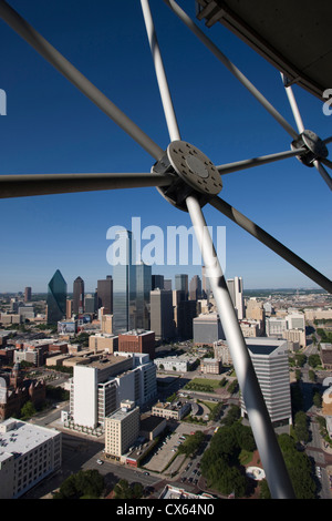 DOWNTOWN SKYLINE FROM REUNION TOWER OBSERVATION DECK DALLAS TEXAS USA - Stock Photo