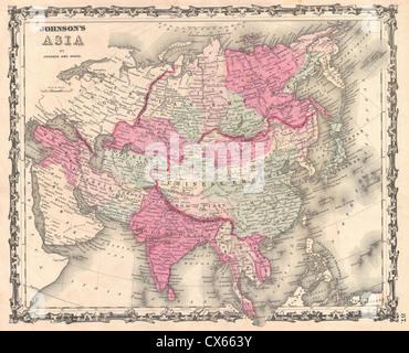1862 Johnson Map of Asia - Stock Photo