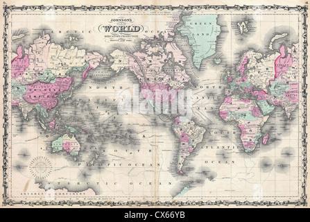 1862 Johnson Map of the World on Mercator Projection - Stock Photo