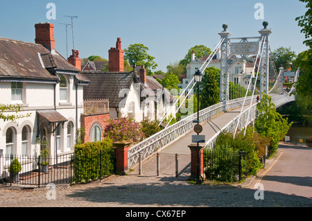 Queens Park Bridge & River Dee, The Groves, Chester, Cheshire, England, UK - Stock Photo