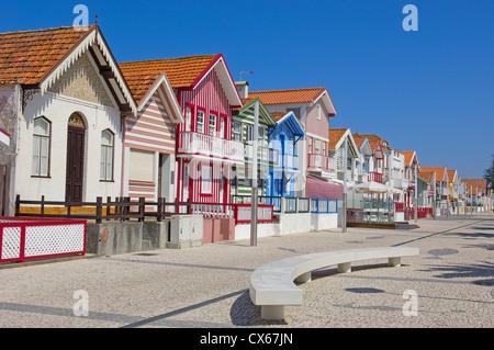 Colorful Houses( Palheiros), Costa Nova, Aveiro, Beiras region, Portugal - Stock Photo