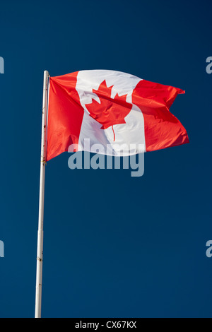 Canadian flag on a flagpole fluttering in the wind. - Stock Photo