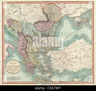 1801 Cary Map of Turkey in Europe, Greece, and the Balkan - Stock Photo