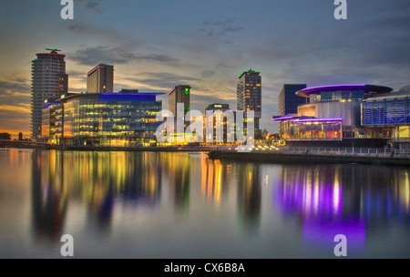 BBC Media City UK, Salford Quays. at evening plusThe Lowry Theatre, Salford Manchester UK - Stock Photo