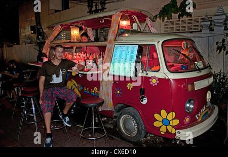 Khao San Road District Bangkok Thailand Thai Street Bar Pub Cafe VW Bus - Stock Photo