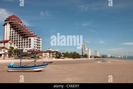 Beach Sea Water Large Boat Port Hua Hin Thailand - Stock Photo