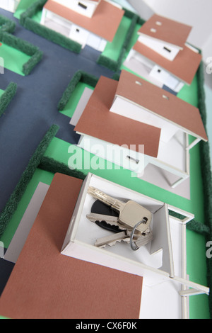 Keys on a model housing estate - Stock Photo