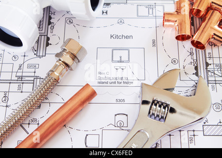Plumbing Equipment On House Plans Stock Photo Royalty