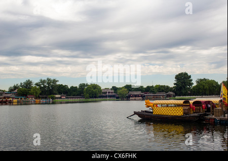 Tourist boats parked in the lake, Shichahai of Beijing - Stock Photo