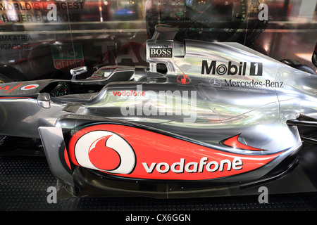 Jenson Button's McLaren Mercedes Formula One racing car on display in Singapore before the 2012 Singapore Grand - Stock Photo